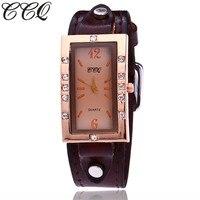 2017 CCQ Brand Fashion Vintage Genuine Cow Leather Watches Casual Women Rhinestone Wristwatch Quartz Watch Relogio