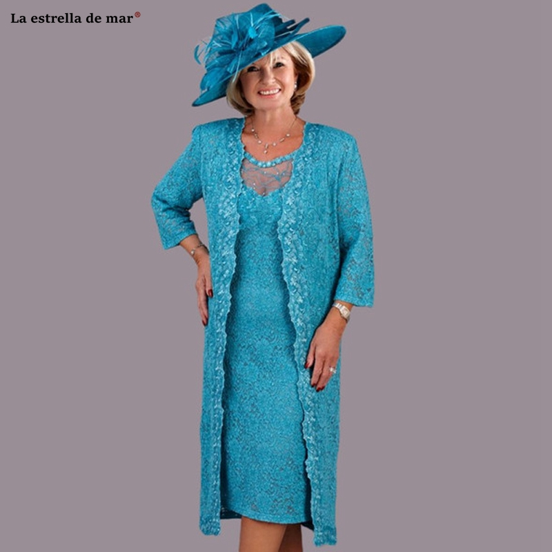 Turquoise Lace Mother Of The Bride Dresses New  With Wrap Plus Size Tea Length Wedding Party Gownsvestido Madre De La Novia