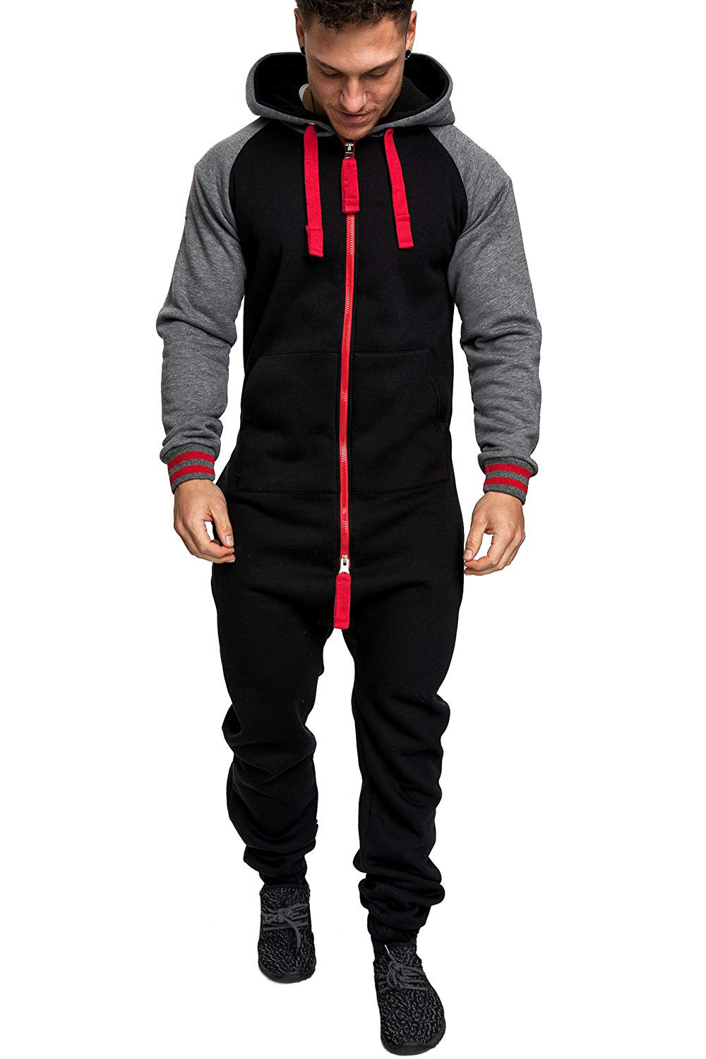 Casual Autumn Hooded Tracksuit Jumpsuit Long Pants Romper For Male Mens Fleece warm Overalls Sweatshirts Male Streetwear X9126 22