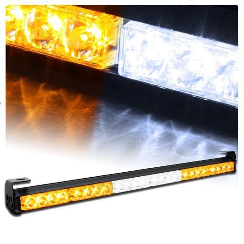 CYAN SOIL BAY White Amber 24 LED 27 Emergency Traffic Advisor Flash Strobe Light Bar Warning 24 LED Yellow Flashing Lamp