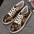 Homens ao ar livre sapatos simples sapatos de ouro plana crânio impresso casual sapatos de metal decoração sapatos de hip hop calçados zapatillas hombre AK081517