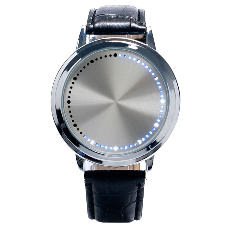 Digital Watches Led Touch Screen Watch Unique Cool Watch With Tree Pattern Simple Black Dial 60 Blue Lights Watch With Soft Black Leather Strap Complete In Specifications