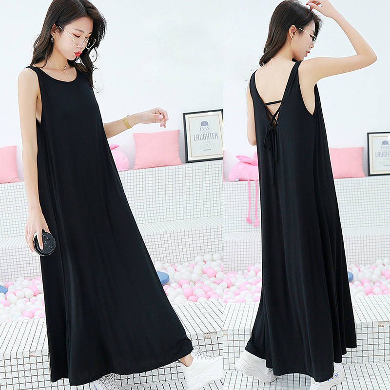 Modal Sexy Leaky Back Extended Floor Dragging Skir   Nightgowns     Sleepshirts   Summer Night Dress Casual Home Clothing Round