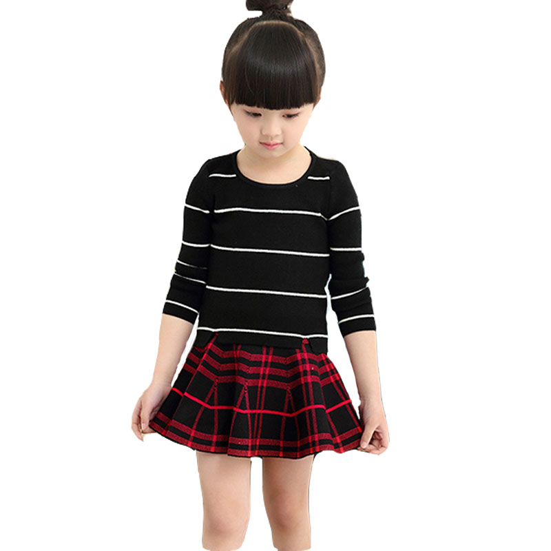 2017 New Summer Fashion Girl Clothing Striped Umbrella Skirt Girls Clothes Free Shipping