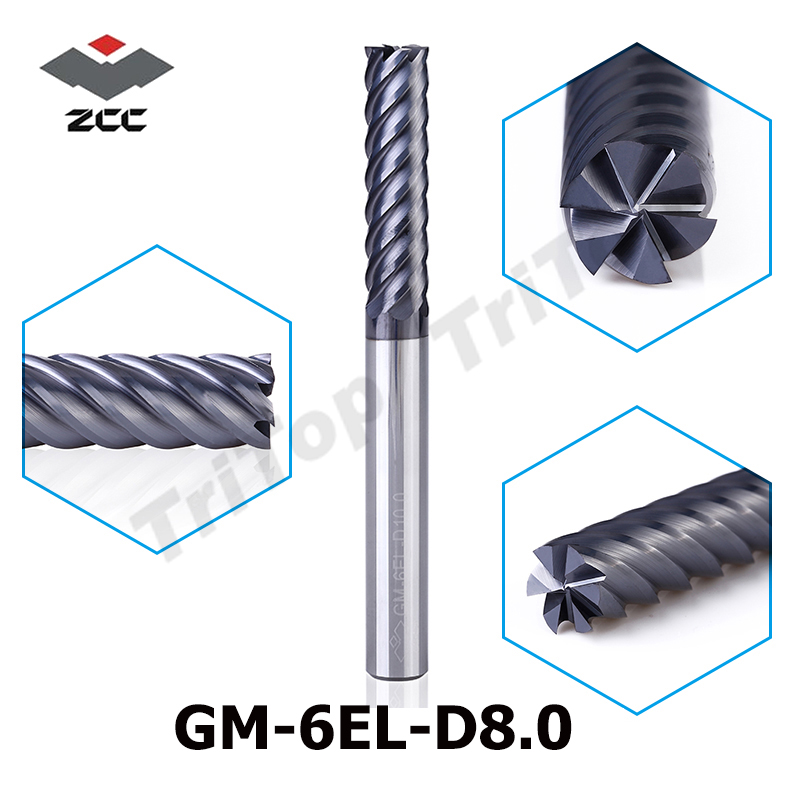 ZCC.CT GM-6EL-D8.0  6 Flute Flattened End Mills  TiAIN Coated  Cemented Carbide Spiral End Mills