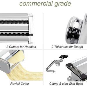 Image 5 - Машина для изготовления лапши, пасты из нержавеющей стали, машина для изготовления лазаньей, резки, Равиоли, вареников, машина с двумя резаками