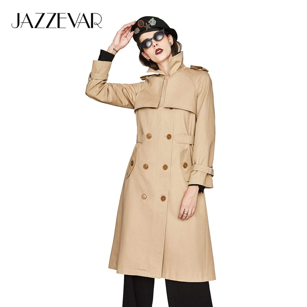 JAZZEVAR new 2019 Autumn Fashion Casual Women's Khaki Trench Coat Double Breasted Pleated Long Outerwear For Lady High Quality-in Trench from Women's Clothing    1