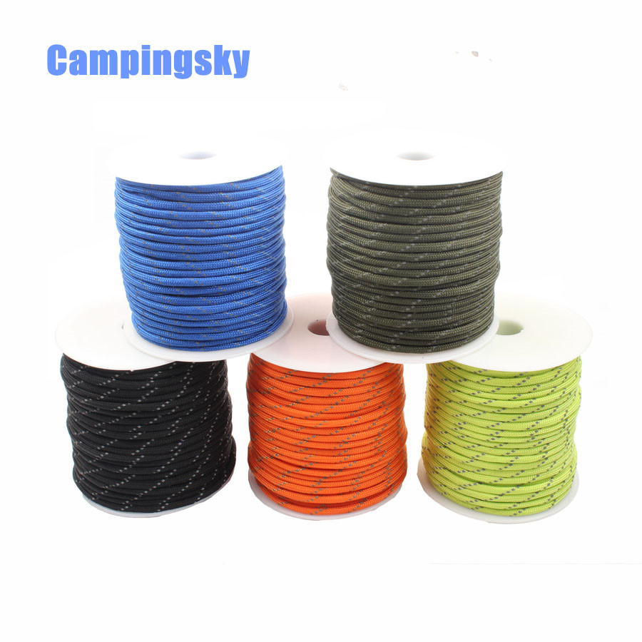 CAMPINGSKY Reflective Paracord 550lb 7 Strand 100FT Survival Paracord 550 Paracord Parachute High intensity reflective Paracord     - title=