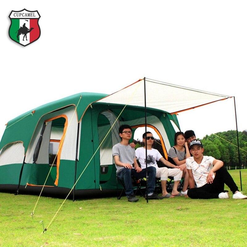 8-12 Pessoa tenda ao ar livre Novo grande espaço de acampamento passeio de dois quartos tenda ultra-grande de altíssima qualidade à prova d' água barraca de camping