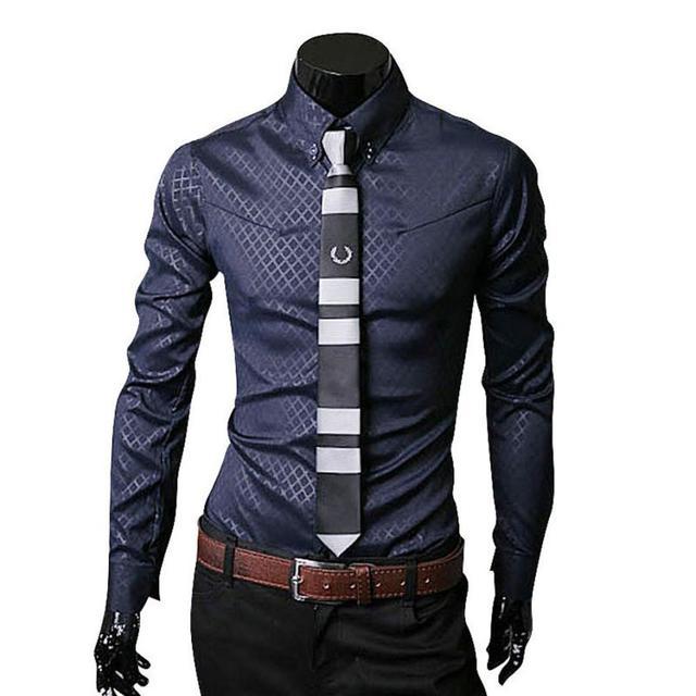Camisa Xadrez Длинным Рукавом Мужские Рубашки Платья Плюс Размер 4XL Бизнес Стильный Slim Fit Рубашки Camisa Masculina Манга Лонга # D729