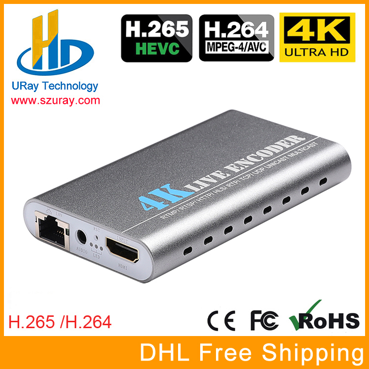 цена на URay 4K Ultra HD HEVC H.265 H.264 HDMI + MIC To IP Video Encoder IPTV Encoder H 265 H 264 Server Support RTSP HTTP UDP HLS RTMP