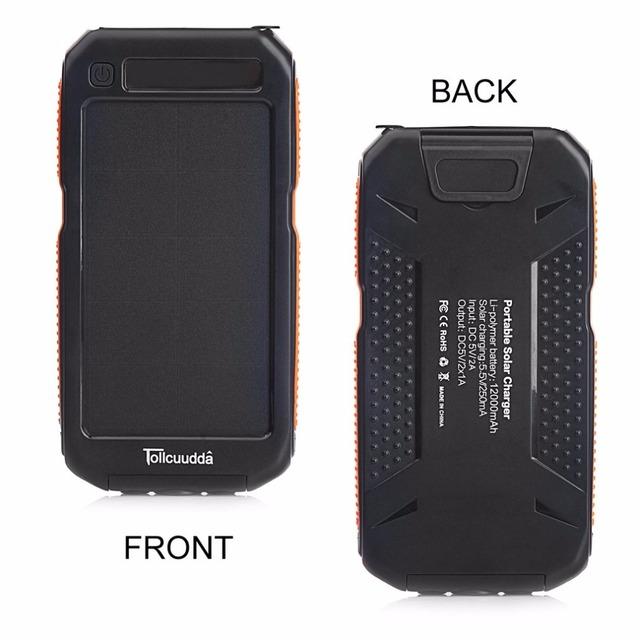 Tollcuudda LHSJ03 12000MAH Externl Power Bank Solar Battery Charger Portable Lightweight Smart Phones Suitable For Iphone