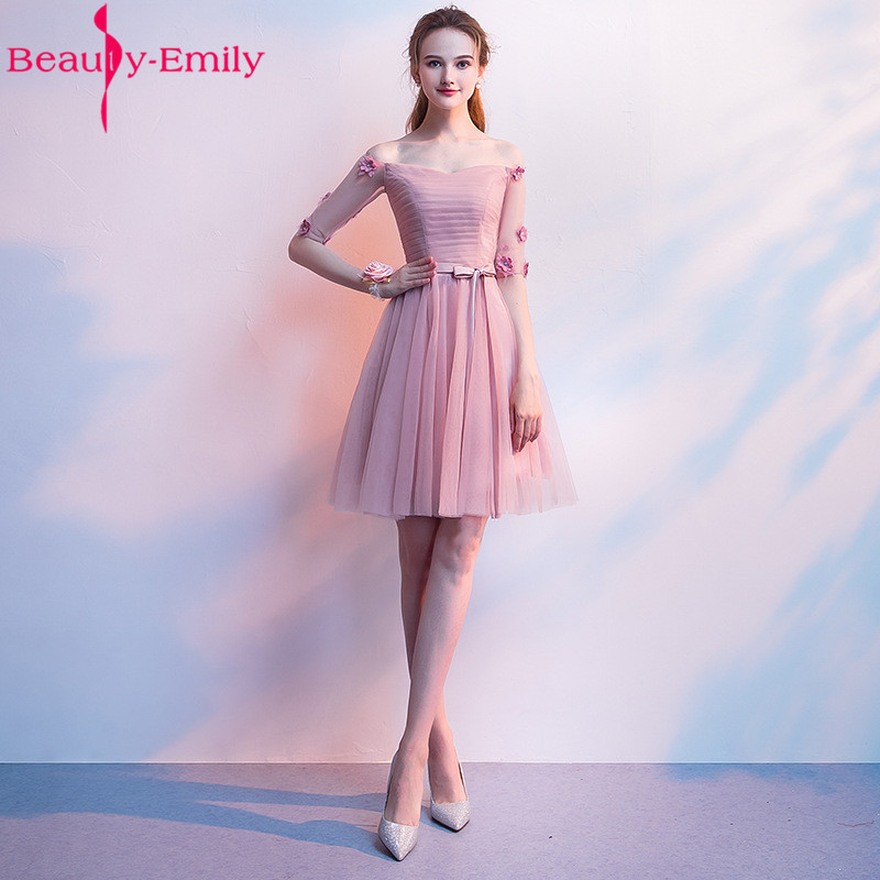Beauty Emily Elegant Boat Neck   Bridesmaid     Dresses   Vestido Madrinha 2019 Charming Dust Pink Wedding Guest   Dress   with Appliques