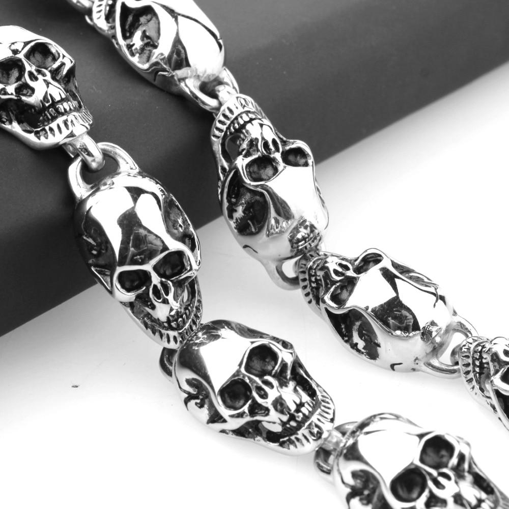 15mm personnalité rétro acier inoxydable lien crâne chaîne hommes femmes collier bijoux couleur argent luxe Version pour bon cadeau