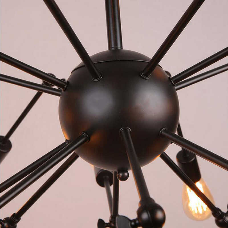 Besi Tempa Kreatif Laba-laba Chandelier Retro Ruang Tamu Kreatif Lampu Industri Restoran Ringan E27 Lampu 8/12/14 /16 Kepala
