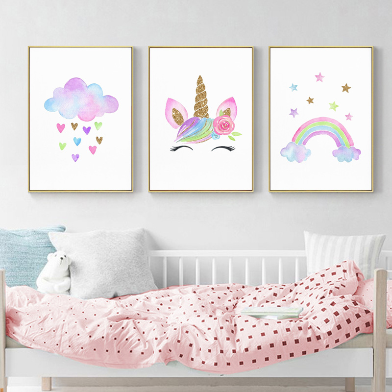Baby Girl Nursery Wall Art Canvas Poster Print Cloud With Heats Painting Rainbow Unicorn Picture Nordic Kids Room Decoration