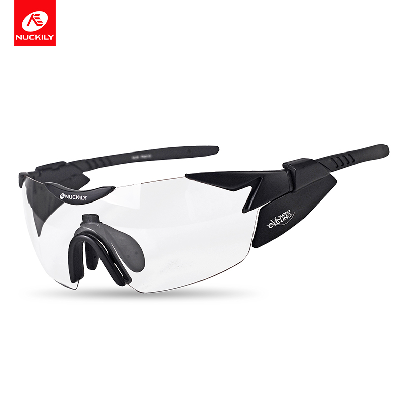 NUCKILY Sport Eyewear Photochromic Polarized Cycling Glasses Night Vision Road and Mountain Bike Glasses With Myopia Frame PA10 half frame male pure titanium with polarized glasses myopia glasses sunglasses night vision clip titanium frame magnet driving