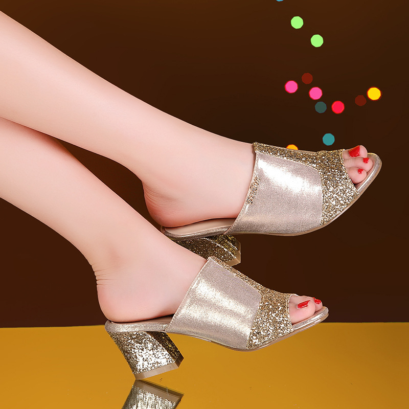 Big Slippers 34 41 Bling Sequins Mules High Heels Summer Peep Toe Fashion Elegant Party Shoes Non slip Slides Womens Slippers in Slippers from Shoes