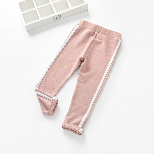 Side Striped Cotton Pants for Girls