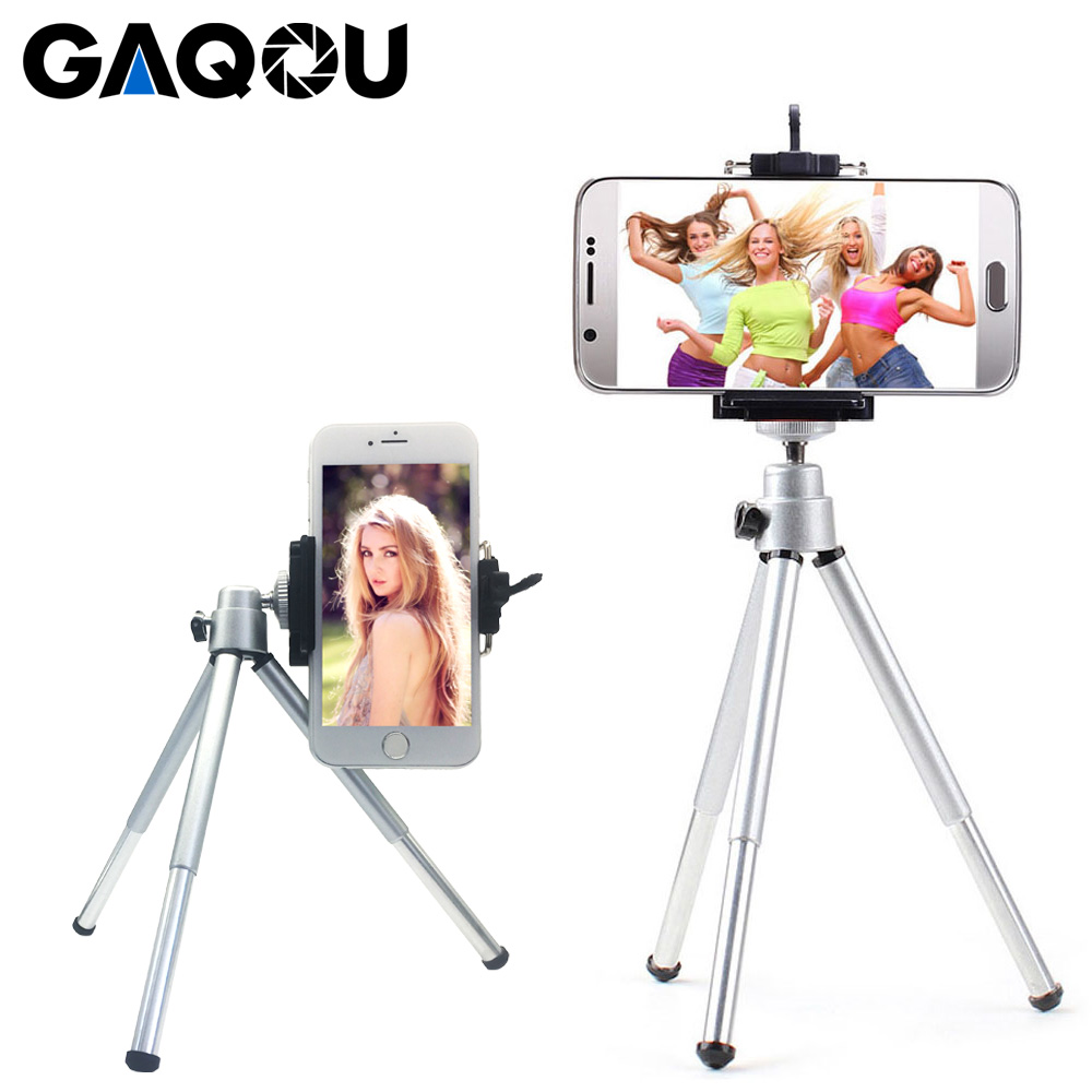 GAQOU Portable Mini Tripod For IPhone Samsung With Mobile Phone Holder Stand Flexible Tripod For Gopro Action Camera Bracket