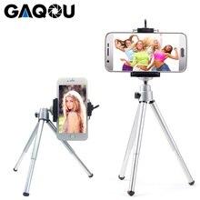 Gaqou portátil mini tripé para iphone com suporte do telefone móvel suporte flexível tripés para gopro ação câmera suporte