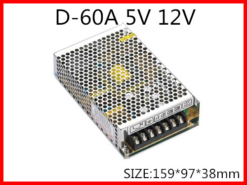 60W Dual Output Switching power supply Output Voltage 5V 12V AC-DC Free Shipping D-60A 720w 12v 60a led switching power supply 12v 60a power supply 12v output 85 265ac input free shipping