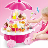 Simulation Music Mini Supermarket Toy Ice Cream Trolley Dolls Furniture Set Candy Shop Toy Child Car