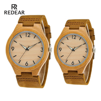 Without Logo Lover's Watches Night Light Pointer Wood Watches Real Leather Strap Female Watch Male Best Gift
