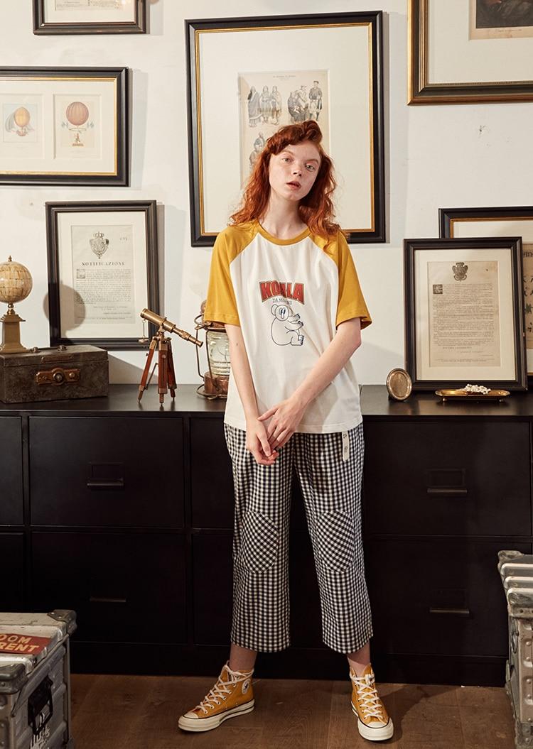 Fashion Design Plaid 2018 Elastic Waist Women Straight Pants Capris Cartoon Print Belt Calf Length Pants Summer Preppy Style 8