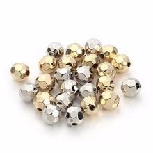 100 pçs/lote 6 8 10 mm ouro prata cor redonda plástico facetado contas ccb nenhum metal grande buraco para diy jóias fazendo descobertas