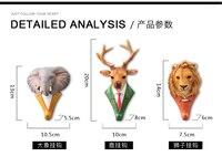 6 ADET # EV DUVAR BAR dekoratif sanat hayvan Fil Aslan geyik kartal At boğa 3D Moda giyim Şapka duvar kanca manto askısı