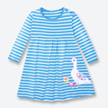 Autumn Kid Dress With Long Sleeve Striped Dress Girls Clothing Cotton Applique Embroidery Girls Dress Brand Kids Dresses 1-6 Yrs