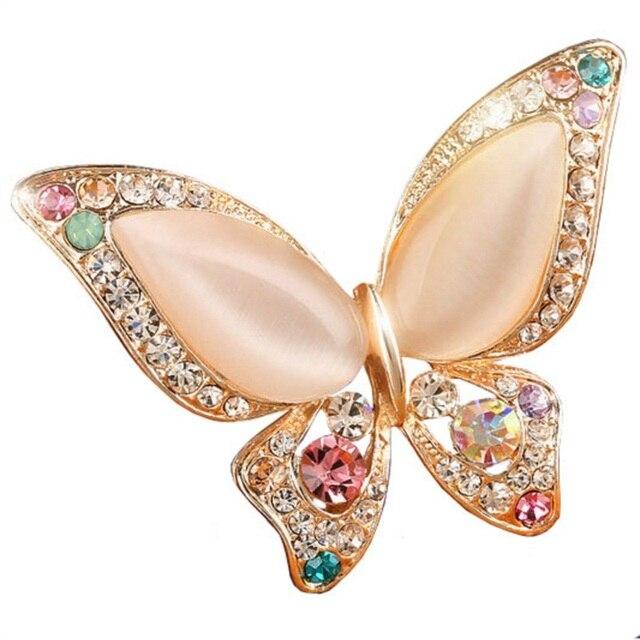 Prezzo di fabbrica 3 colori per scegliere Opale con strass spille per la cerimonia nuziale spilla a farfalla per le donne dei monili di modo buon regalo