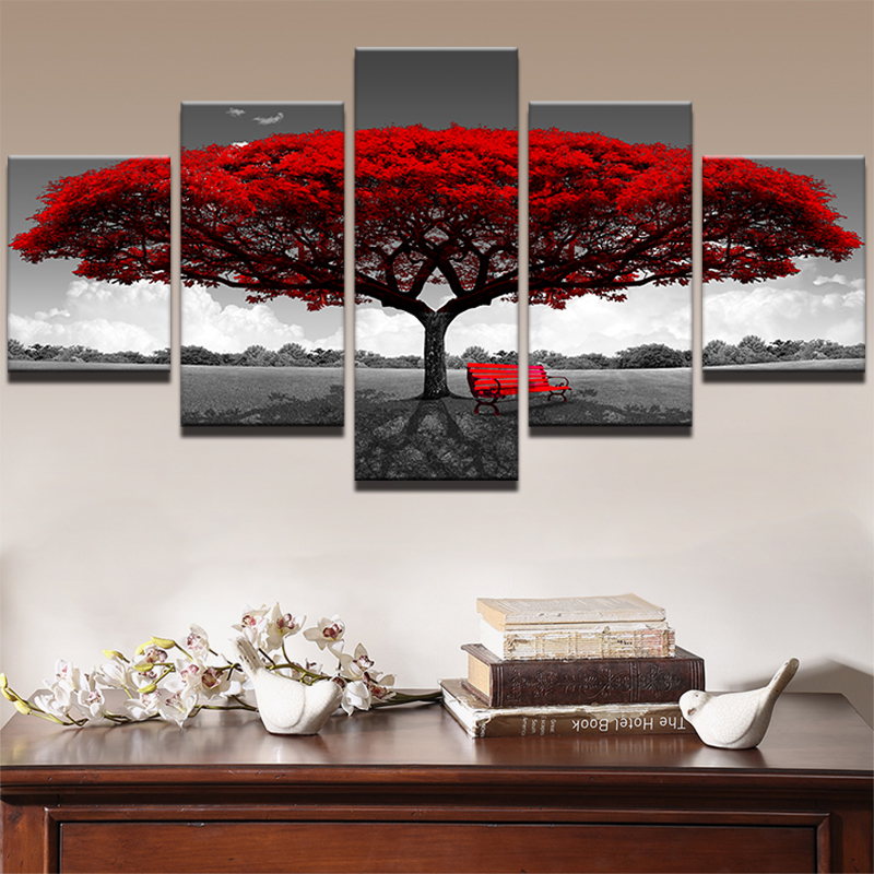 Le Fulan 5d Diy 5 Pieces Poster Wall Art Photo Decor Red Tree Walking Art Scenery Pictures Diamond Painting Embroidery Gift Fram
