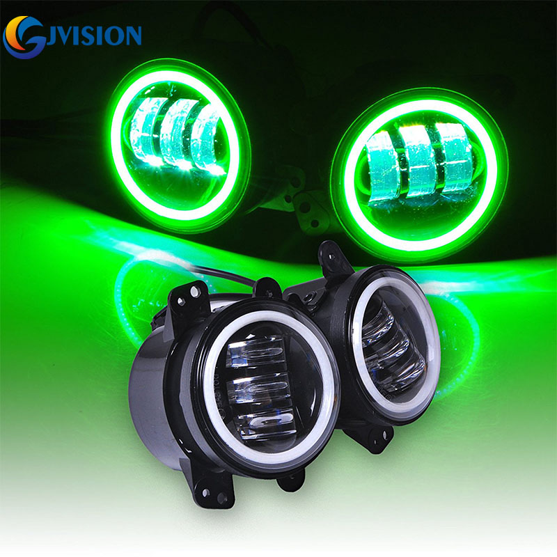 4 inch Round LED Fog light headlight 30W Projector LENS for Jeep Wrangler JK Off Road 4x4 Auto led Driving foglights Halo Ring co light 2pcs 7 inch led driving light 50w 30w h4 h13 led car headlight kit auto for jeep led head lamp bulbs dipped