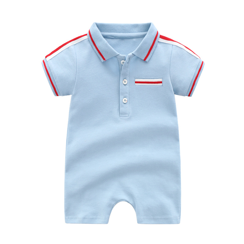 Baby Rompers Knitted Turn Down Neck Newborn Boys Short Sleeve Sunsuit Jumpsuits Summer Outerwear Toddler Children Overalls 0 18M in Rompers from Mother Kids
