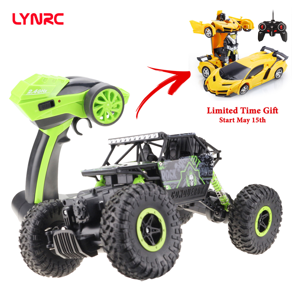 Lynrc RC Car 4WD 2.4GHz climbing Car 4x4 Double Motors Bigfoot Car Remote Control Model Off Road Vehicle Toy-in RC Cars from Toys & Hobbies