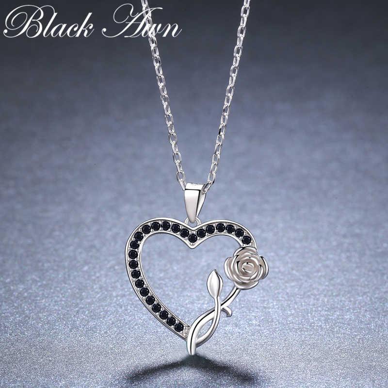 לב פרח רומנטי מגיע 925 סטרלינג כסף תכשיטים אופנתי פרח אירוסין שרשראות & תליונים לנשים K008