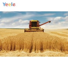 Yeele Vinyl Autumn Harvest Wheat Fields Haystack Harvester Photography Background Customized Photocall Backdrop For Photo Studio