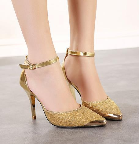 3ee94f5488a Celeb style ankle strap metal pointed toe color match sandals elegant women  prom dress shoes gold silver blue size 34 to 39