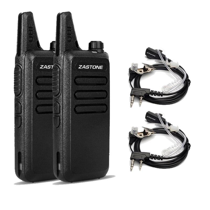 imágenes para 2 Unids X6 Walkie Talkie Zastone UHF 400-470 Mhz 16 Canales de radio de Dos vías Con El Auricular Portátil Walkie talkie