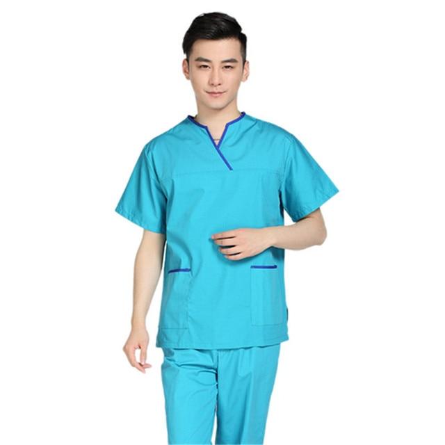 New Men Medical Scrub Sets Hospital Doctor Uniforms Dental Clinic Beauty  Salon Short Sleeve Surgical Scrubs