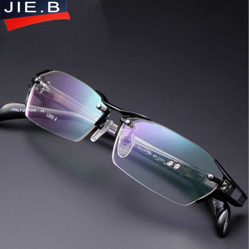 2018 100 Pure Titanium Rimless Eyeglasses Frames Men Myopia Optical Glasses Frame Prescription Eyewears oculos de