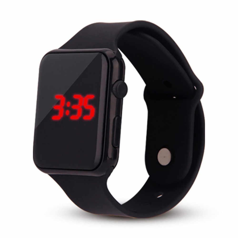 メンズ腕時計 Led 正方形の学生大人カップル電子時計とシェル調整スポーツランニングリロイデポルティボ Wd3