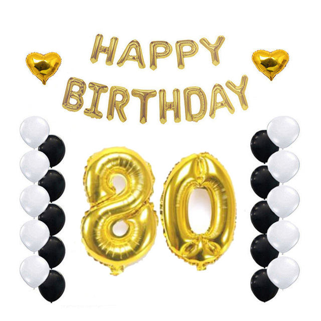 Fopcc 80th Birthday Party Decoration Kit Gold Happy Letters Number 80 Foil Balloon Years Old Supplies