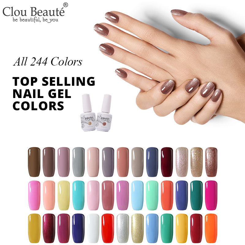 Clou Beaute 244 Colors Nail Polish Gel Varnish 15ML Semi Permanent UV Gel Varnish Hybrid Nail Art Off White Beige Nude Nail Art