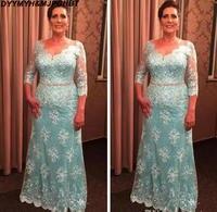 Elegant Lace Mother Of The Bridal Dresses 2019 V Neck 3/4 Long Sleeves Mermaid Plus Size Formal Wedding Guest Dress