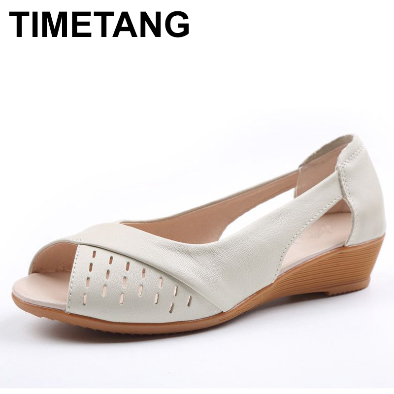 TIMETANG Women Shoes Summer New Fashion Genuine Leather Woman Sandals Plus Size Ladies Flats Sandals Female Sandals C296 capputine new summer sandals woman shoes 2017 fashion african casual sandals for ladies free shipping size 37 43 abs1115