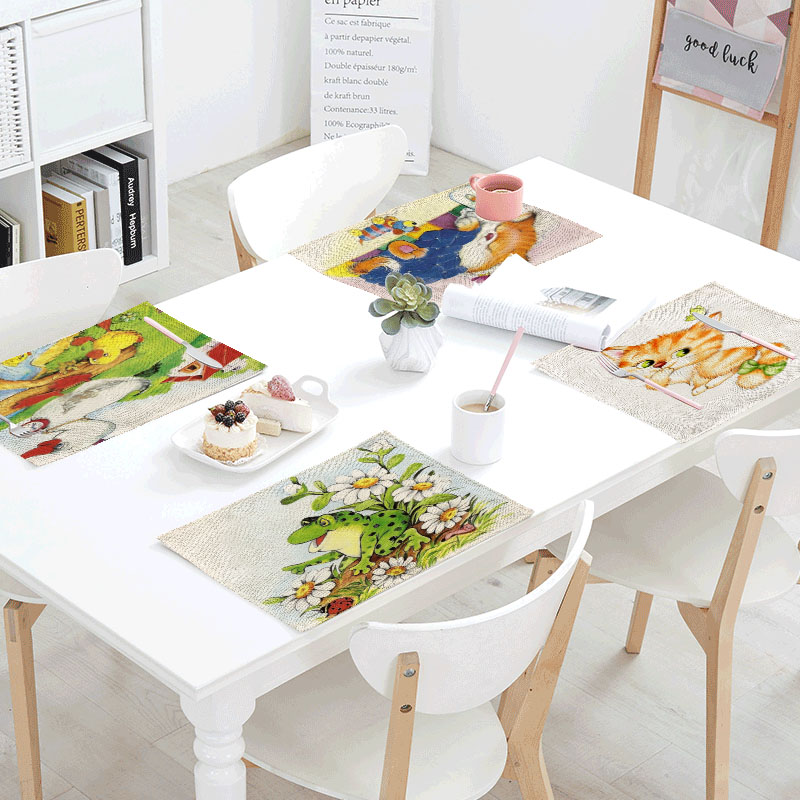 Frog Cats Linens Table Napkins Tea printed Place Mat Butterfly Cats Polyester Servilletas Para Bodas Design Party Decoration