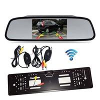 4.3 Car Vehicle LCD Mirror Monitor Rear View Kit + Wireless EU Car License Plate Frame Reversing Backup Parking 4 LED Camera